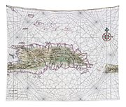 Antique Maps - Old Cartographic Maps - Antique Map Of Hispaniola - Caribbean Island Tapestry