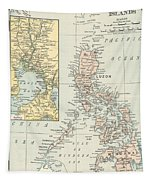 Antique Maps - Old Cartographic Maps - Antique Map Of Philippine Islands And Manila Bay, 1898 Tapestry