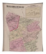 Antique Maps - Old Cartographic Maps - Antique Map Of Sudbury, Canada, 1875 Tapestry