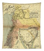 Antique Maps - Old Cartographic Maps - Antique Map Of Syria, 1884 Tapestry
