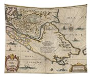 Antique Maps - Old Cartographic Maps - Antique Map Of The Strait Of Magellan, South America, 1635 Tapestry