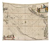Antique Maps - Old Cartographic Maps - Antique Map Of The Strait Of Magellan, South America, 1650 Tapestry