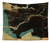 Antique Maps - Old Cartographic Maps - Antique Map Of Vancouver, New Westminster, Steveston Tapestry