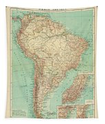 Antique Maps - Old Cartographic Maps - Antique Russian Map Of South America Tapestry