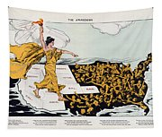 Antique Map Of The United States Of America - The Spirit Of Liberty - The Awakening, 1915 Tapestry