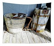 Antique Wooden Buckets Tapestry