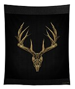 Antlered Skulls - Gold Deer Skull X-ray Over Black Canvas No.1 Tapestry