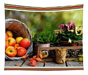Apple Basket And Other Objects Still Life L B With Alt. Decorative Ornate Printed Frame. Tapestry