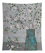 Apple Blossoms In Turquoise Vase Tapestry