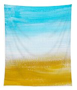 Aqua Gold Abstract Painting Tapestry