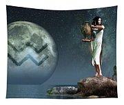 Aquarius Zodiac Symbol Tapestry
