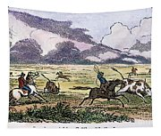 Argentina: Gauchos, 1853. Gauchos Catching Cattle On The Argentine Pampas. Wood Engraving, American, 1853 Tapestry