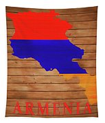 Armenia Rustic Map On Wood Tapestry