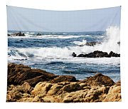 Arriving Tide At Pebble Beach Tapestry