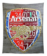 Arsenal Football Team Emblem Recycled Vintage Colorful License Plate Art Tapestry