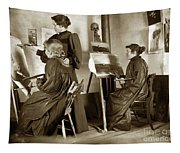 Art Class Oil Painting Teacher  And Art Students 1900 Tapestry
