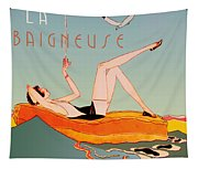 Art Deco Beach Bather Tapestry