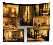 Art Institute Of Chicago Miniature Room Collage Textured Tapestry