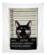 Kitty Mugshot Tapestry by Nicklas Gustafsson
