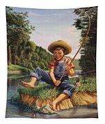 Boy Fishing In River Landscape - Childhood Memories - Flashback - Folkart - Nostalgic - Walt Curlee Tapestry