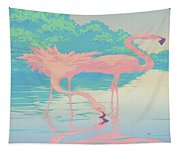 abstract Pink Flamingos retro pop art nouveau tropical bird 80s 1980s florida painting print Tapestry