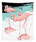 Pink Flamingos Tropical 1980s Abstract Pop Art Nouveau Graphic Art Retro Stylized Florida Print Tapestry