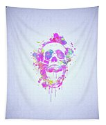 Cool And Trendy Pink Watercolor Skull Tapestry