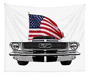 Patriotic Mustang On White Tapestry