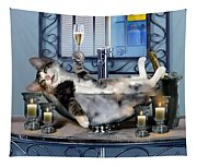 Funny Pet Print With A Tipsy Kitty  Tapestry