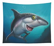 friendly Shark Cartoony cartoon under sea ocean underwater scene art print blue grey  Tapestry