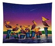 Pelican Sunset Whimsical Cartoon Tropical Birds Seascape Print Blue Orange Purple Yellow Tapestry