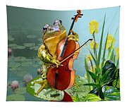 Humorous Scene Frog Playing Cello In Lily Pond Tapestry