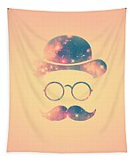 Retro Face With Moustache And Glasses  Universe  Galaxy Hipster In Gold Tapestry