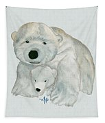 Cuddly Polar Bear Watercolor Tapestry