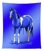 Royal Blue Wet Paint Horse Tapestry