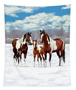 Bay Paint Horses In Winter Tapestry