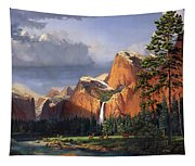 Deer Meadow Mountains Western Stream Deer Waterfall Landscape Oil Painting Stormy Sky Snow Scene Tapestry
