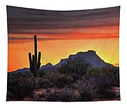 As The Sun Sets On Red Mountain  Tapestry