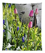 Aspen And Tulips Tapestry