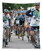Astana Team With Lance Armstrong Tapestry by Travel Pics