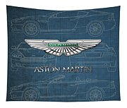 Aston Martin 3 D Badge Over Aston Martin D B 9 Blueprint Tapestry