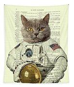 Astronaut Cat Illustration Tapestry