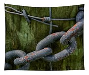 At The Fence Gate - Chain, Wire, And Post Tapestry