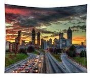 Atlanta Nite Lights Atlanta Downtown Cityscape Art Tapestry