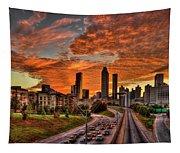 Atlanta Orange Clouds Sunset Capital Of The South Tapestry