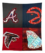 Atlanta Sports Fan Recycled Vintage Georgia License Plate Art Braves Hawks Falcons Plus State Map Tapestry