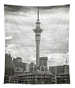 Auckland New Zealand Sky Tower Bw Texture Tapestry