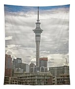 Auckland New Zealand Sky Tower Textured Tapestry