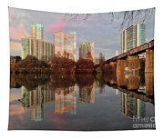 Austin Hike And Bike Trail - Train Trestle 1 Sunset Triptych Left Tapestry