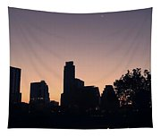 Austin Skyline Sunrise Into A Crescent Moon Panorma Tapestry